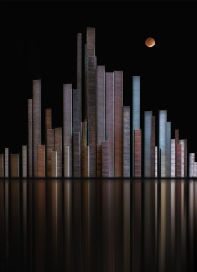 """THIS IS THE TREMENDOUS TABLE TOP EFFORT BY CONNIE FITZGERALD OF PARK STREET CAMERA CLUB. SIMPLY STACKS OF STAPLES ARRANGED ON A SHINY BLACK SURFACE - """"BLOOD MOON OVER CITY OF STAPLES""""."""